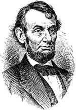 Engraving style illustration of Abraham Lincoln